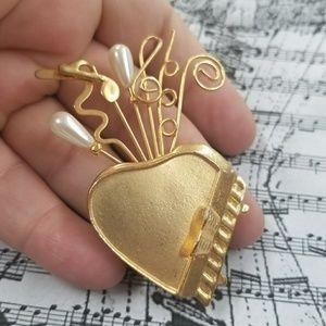 Cute VTG Piano Brooch